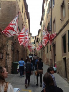 This is a neighborhood with contrada flags. These are for the giraffa contrada